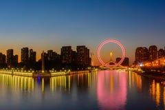 Night scene cityscape of Tianjin ferris wheel,Tianjin eyes with Royalty Free Stock Image