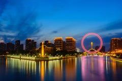 Night scene cityscape of Tianjin ferris wheel,Tianjin eyes  in t Stock Images