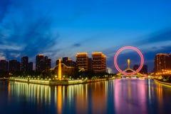Night scene cityscape of Tianjin ferris wheel,Tianjin eyes  in t Royalty Free Stock Photos