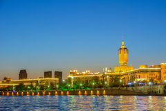 Night scene Cityscape of Tianjin railway station (side view) wit Royalty Free Stock Photos