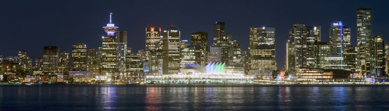 Night Scene Cityscape Vancouver Canada. A panorama of Vancouver BC from Lonsdale Warf Royalty Free Stock Images