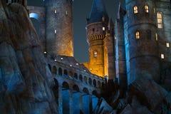Night scene close up of Hogwarts castle Stock Photo