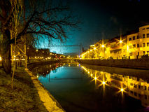 Night scene. In CLUJ . The blue light comes from the football arena near by royalty free stock images