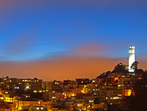 The night scene of coit tower Royalty Free Stock Image