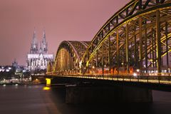 Night scene of Cologne Germany Royalty Free Stock Images
