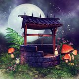 Colorful wishing well with mushrooms. Night scene with a colorful wishing well, mushrooms, fern and flowers royalty free illustration