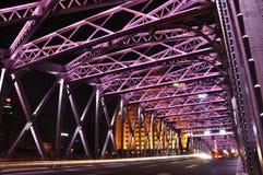 Night scene of colourful Waibaidu Bridge Stock Image