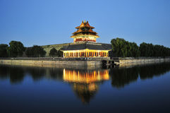 Night scene of corner tower of forbidden city Stock Photo