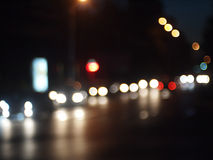Night scene - defocused car Royalty Free Stock Photography