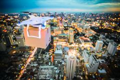 Delivery drone at work. Night scene of delivery drone at work, 3d rendering image stock images