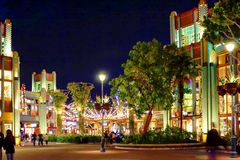 Night Scene at Disneyland, California. Disneyland, Calofornia, bright night lights at the main street stock photo