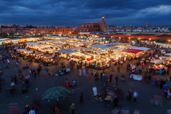Night scene of the Djema el Fnaa in Marrakesh Stock Photo