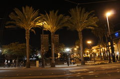 A Night Scene. In the downtown promenade in Long Beach where commuters enjoyed the long wait Stock Photography