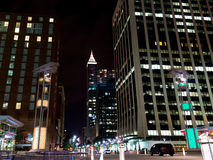 Night scene of Downtown Raleigh, NC. Night scene of  Fayettville street in Downtown Raleigh, NC Royalty Free Stock Image