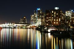 Night scene of downtown in Stanley Park Stock Images