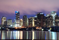Night scene of downtown Vancouver Royalty Free Stock Image