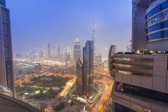 Night scene of Dubai city skyline view of Burj Khalifa from Emirates Grand Hotel top. DUBAI, UAE - SEPTEMBER 25 2018: night scene of Dubai city skyline view of royalty free stock image