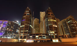 Night scene at Dubai Marina Stock Images