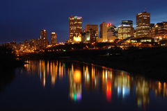 Night scene of edmonton. Night scene of the saskatchewan river valley and downtown in city edmonton, alberta, canada stock photography