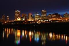 Night scene of edmonton downtown stock photo