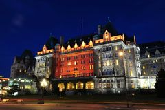 Night scene of empress hotel Stock Photo