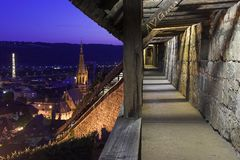 Night scene of Esslingen with the town wall. royalty free stock photo