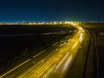 Night scene of expressway motorway. Aerial view from drone, Thailand royalty free stock image