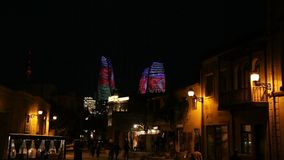 Night scene of the famous Flame Towers. In Baku, Azerbaijan stock video
