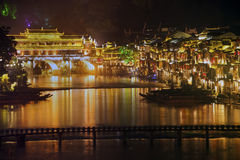 Night scene at Fenghuang ancient city. Royalty Free Stock Photography