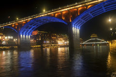 Night scene at Fenghuang ancient city. Royalty Free Stock Images
