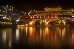 Night scene at Fenghuang ancient city. Royalty Free Stock Photo