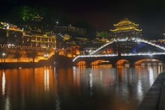 Night scene at Fenghuang ancient city. Royalty Free Stock Photos