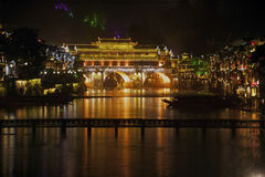 Night scene at Fenghuang ancient city. Stock Photo