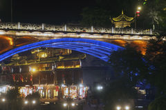 Night scene at Fenghuang ancient city. Stock Image