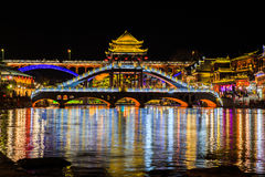 Night scene of Fenghuang (Phoenix) ancient town Stock Image