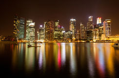Night scene of financial district, Singapore. Stock Images