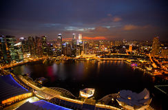 Night scene of financial district Singapore Stock Photos