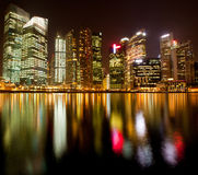 Night scene of financial district Singapore Stock Images
