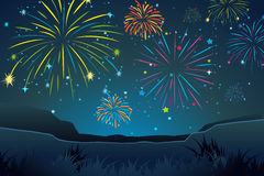 Night scene with fireworks in sky Stock Images