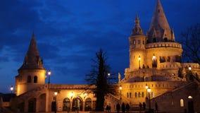 Night scene of Fisherman`s bastion. Main tower in Budapest Stock Image