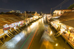 Night scene at Floating market. In Thailand Royalty Free Stock Photos