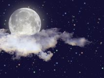 Night scene with full moon Royalty Free Stock Photography