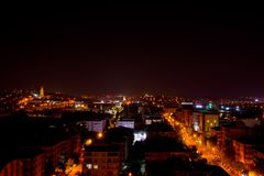 Night scene in gaziantep, turkey. Night scene of illuminated city and traffic in gaziantep, turkey Stock Photos