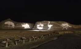 Night scene in geological park Timna, Israel Royalty Free Stock Image