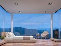 Night scene glass house bedroom with mountain view 3d rendering image. The room has wooden floor,There are large frame less glass window overlooking to the stock illustration