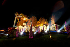 Night scene of golden Dragon in Chinese temple . Stock Image