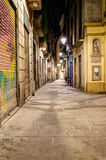 Night scene in gothic quarter Stock Photos