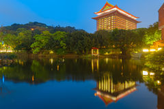 Night scene of grand hotel in Taipei Royalty Free Stock Photos