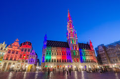Night scene of the Grand Place in Brussels Stock Images