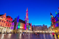 Night scene of the Grand Place in Brussels, Belgium. Stock Images